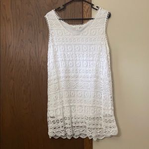 White lace long tank